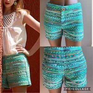ANTHROPOLOGIE Elevenses Costa Aztec Neon Shorts